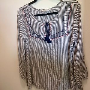 White, navy and coral striped old navy tunic top